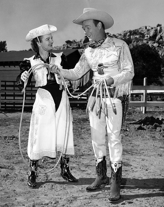 1950s Candids Photograph - Roy Rogers Right, And His Wife Dale by Everett