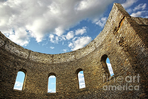 Architecture Photograph - Ruin Wall With Windows Of An Old Church  by Sandra Cunningham