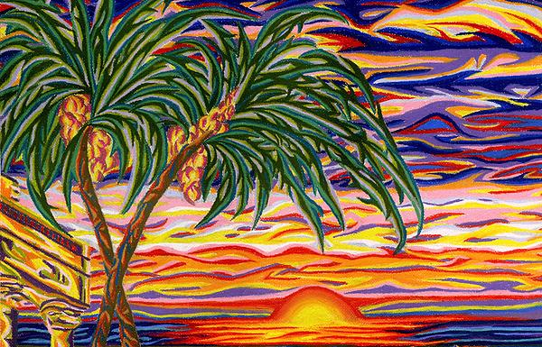 Palm Trees Painting - Ruins Of Empires Detail A by Robert SORENSEN