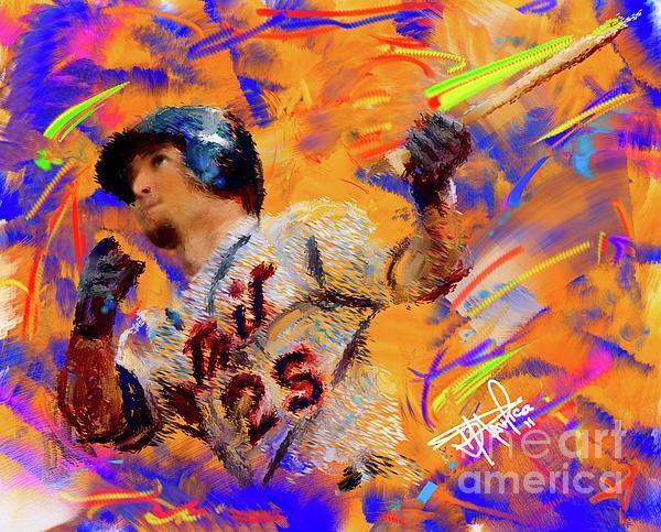 Baseball Painting - Ryan Rayburn by Donald Pavlica