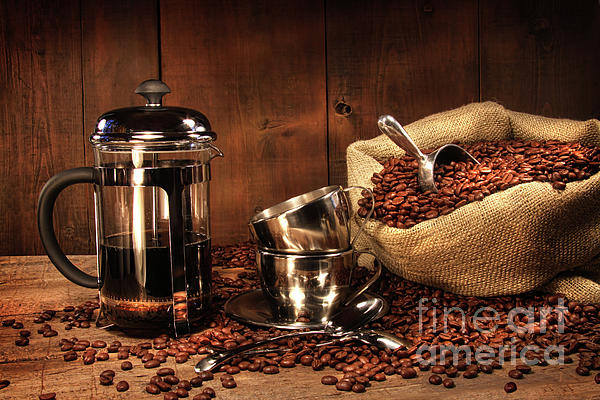 Aroma Photograph - Sack Of Coffee Beans With French Press by Sandra Cunningham