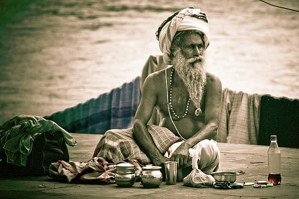 India Photograph - Sadhu At Ganges by John Battaglino