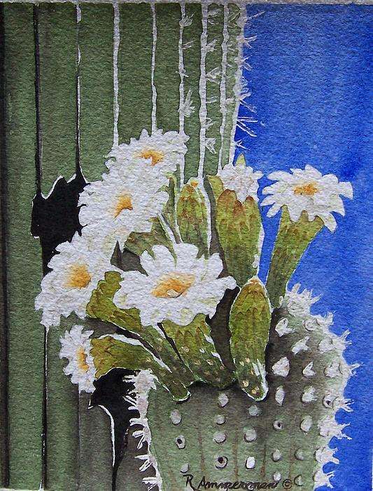 Cactus Painting - Saguaro Bloom by Regina Ammerman
