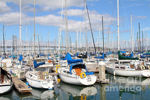 San Francisco Photograph - Sail Boats At San Francisco China Basin Pier 42 With The Bay Bridge In The Background . 7d7666 by Wingsdomain Art and Photography