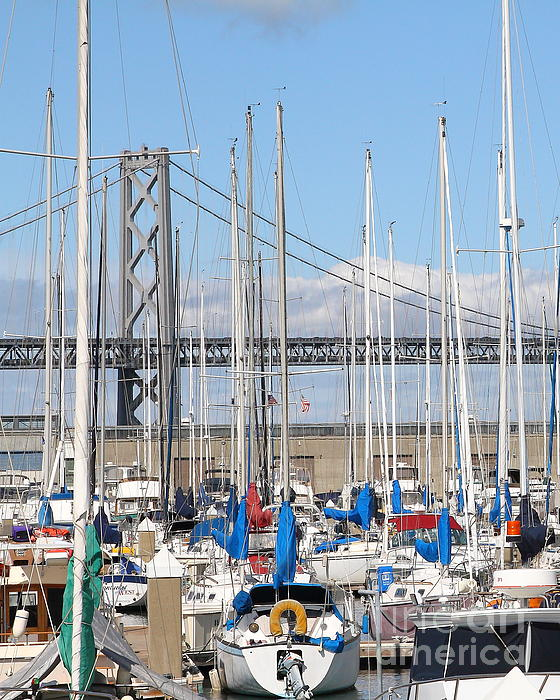 San Francisco Photograph - Sail Boats At San Francisco China Basin Pier 42 With The Bay Bridge In The Background . 7d7683 by Wingsdomain Art and Photography