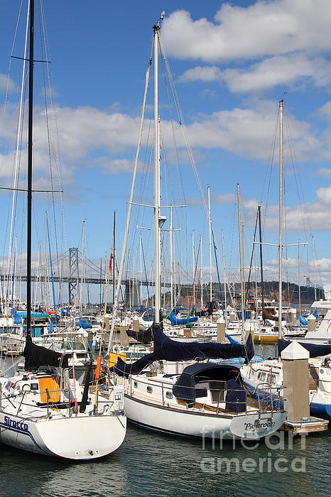 San Francisco Photograph - Sail Boats At San Francisco China Basin Pier 42 With The Bay Bridge In The Background . 7d7685 by Wingsdomain Art and Photography