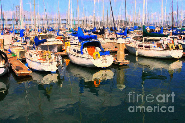 San Francisco Photograph - Sail Boats At San Franciscos Pier 42 . Dark Version by Wingsdomain Art and Photography