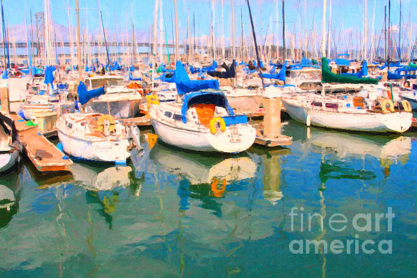 San Francisco Photograph - Sail Boats At San Franciscos Pier 42 by Wingsdomain Art and Photography