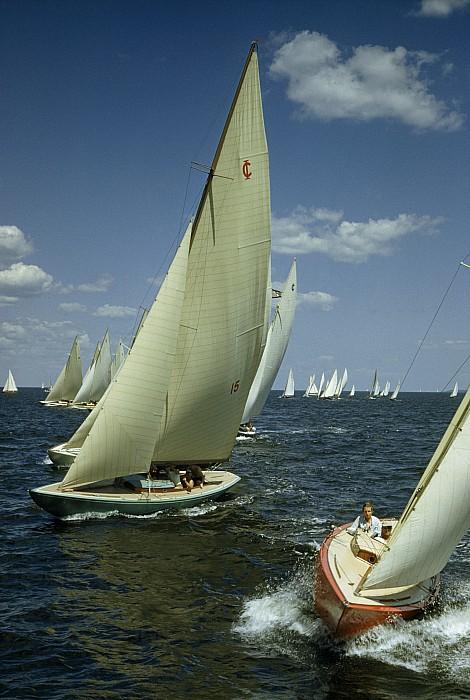 Outdoors Photograph - Sailboats Cross A Starting Line by B. Anthony Stewart