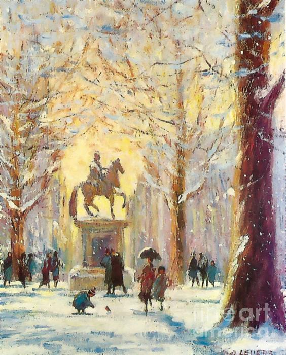 Snow Mixed Media - Saint James Square London...a Friendly Robin by Jeanette Leuers
