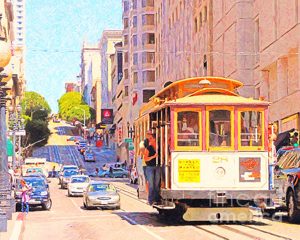 Sf Photograph - San Francisco Cablecar Coming Down Powell Street by Wingsdomain Art and Photography