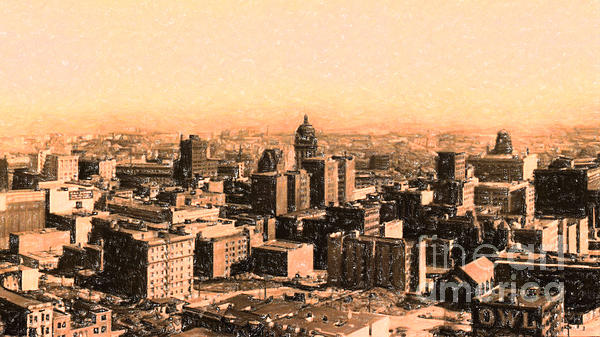 San Francisco Photograph - San Francisco Skyline 1909 Showing South Of Market Street by Wingsdomain Art and Photography