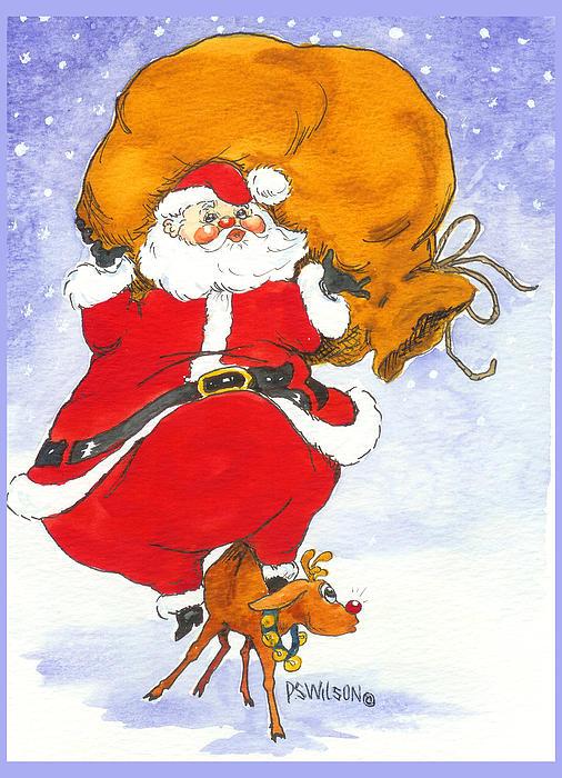 Santa Painting - Santa And Rudolph by Peggy Wilson