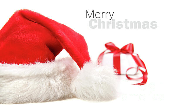 Cap Photograph - Santa Hat And Gift With Red Bow by Sandra Cunningham