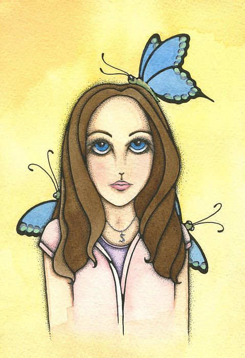 Sarah Butterfly Butterflies Insect Teenager Teen Girl Woman Maiden Child Blue Purple Pink Yellow Gold Green Eyes Fantasy Watercolor Faerie Fairie Faery Fairy Fae Painting - Sarahs Butterflies by Nora Blansett