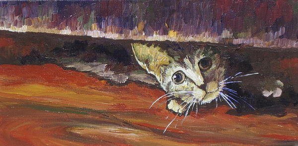 Cat Painting - Scaredy Cat by Sandy Tracey