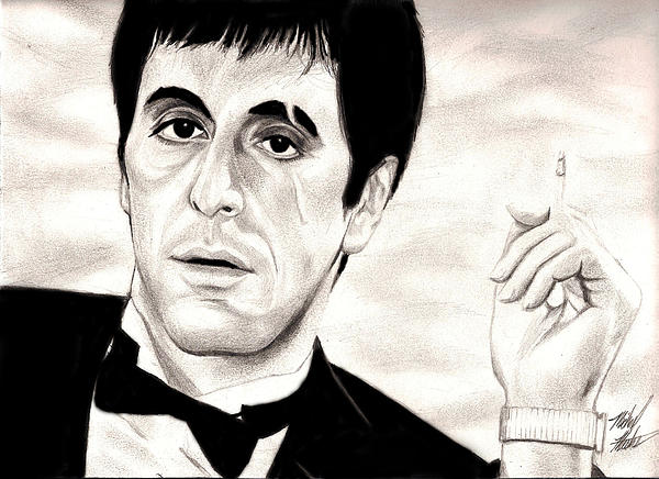 Scarface Drawing - Scarface by Michael Mestas