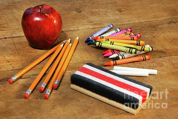 Apple Photograph - School Supplies  by Sandra Cunningham