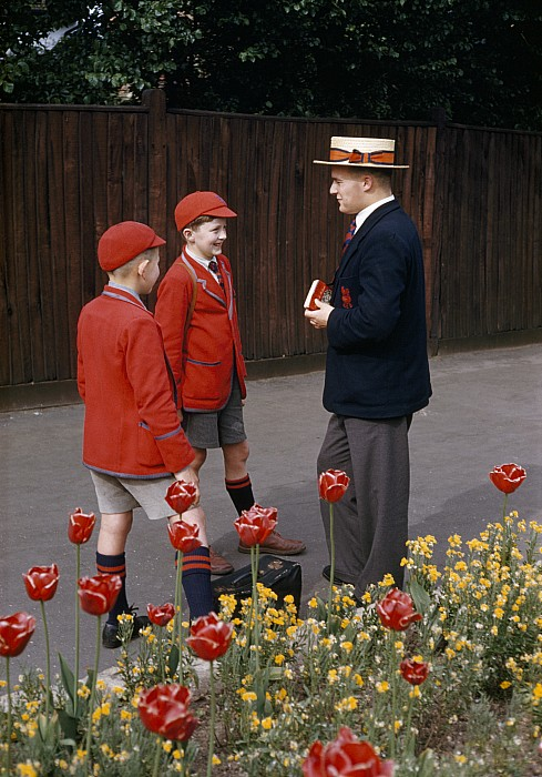 Outdoors Photograph - Schoolboys Chat With A Master At Kings by Franc Shor