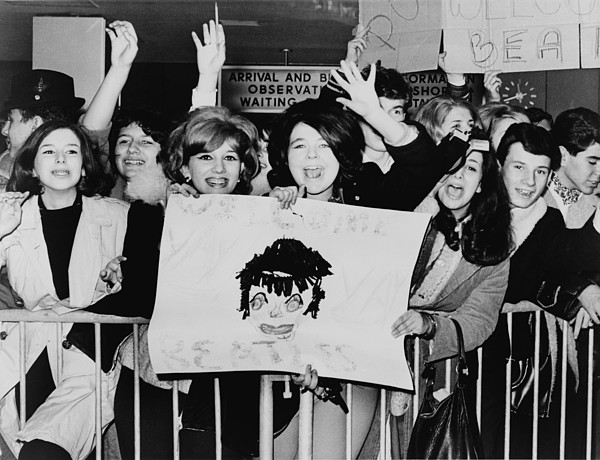 History Photograph - Screaming Teenagers Girls Wave A Crude by Everett