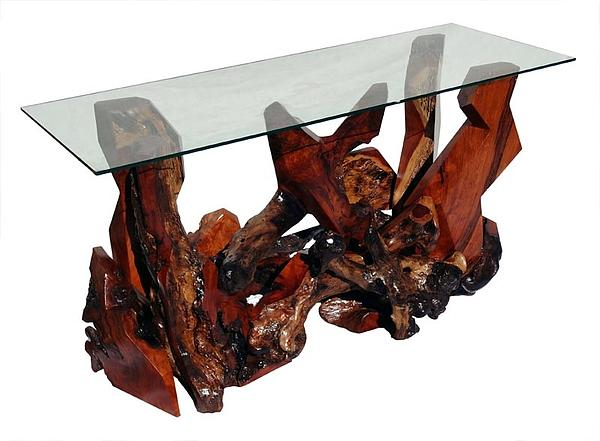 Console Tables Sculpture - Sculptured Redwood And Glass Top Console Table Ds-19311 by Daryl Stokes