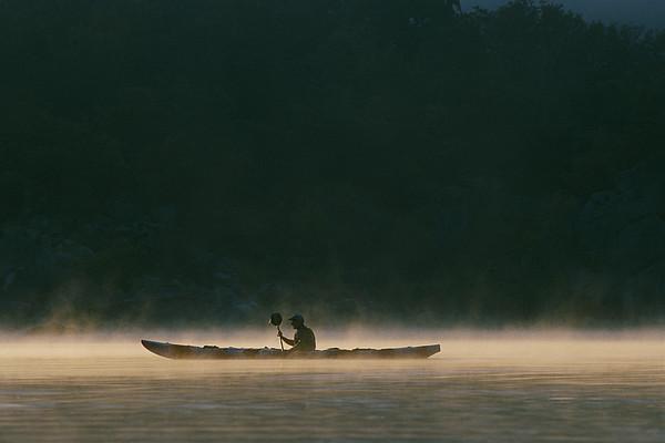 North America Photograph - Sea Kayak Silhouette On Potomac River by Skip Brown