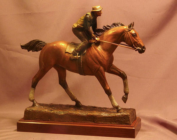 Seabiscuit Sculpture - Seabiscuit Statue - Bronze Statue Of Racehorse Seabiscuit And George Woolf by Kim Corpany and Stan Watts