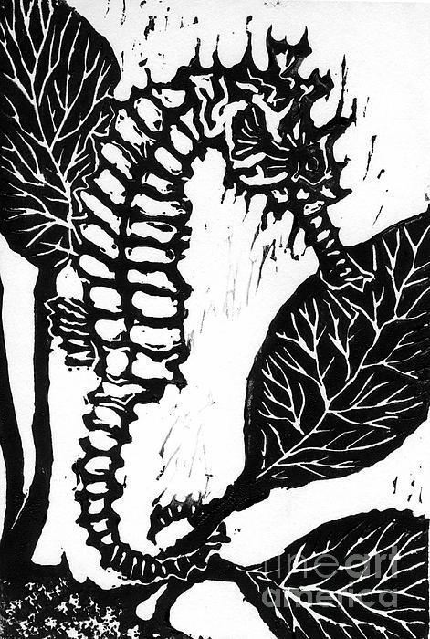 Lino Mixed Media - Seahorse Block Print by Ellen Miffitt
