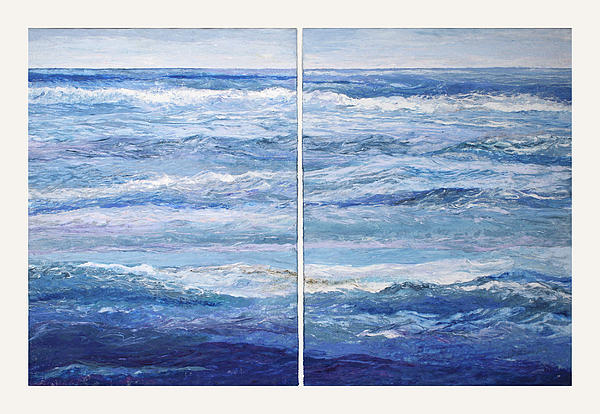Seascape Painting - Seashore Diptych by Meg Black