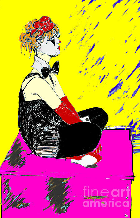 Seated Female Digital Art - Seated Coloured Clown by Joanne Claxton