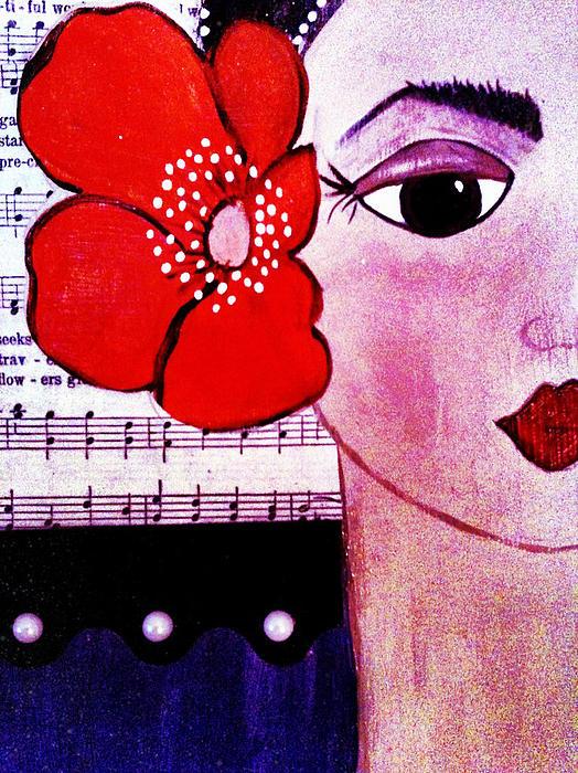 Music Painting - Senorita Con Flor by Mela Lucia