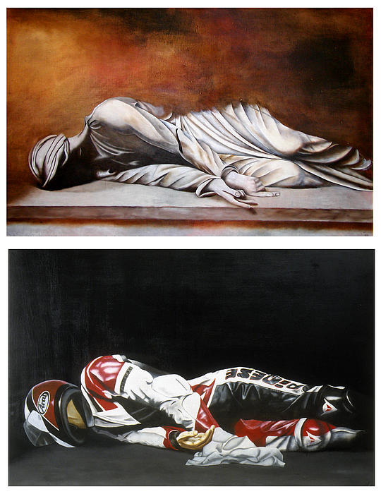 Self Portrait Motorcycle Arai Helmet Leather Suit Figurative Realism Diptych Sculpture Statue Renaissance Dark Emotive Expressive Saint St. Cecilia  Painting - September Sixth Diptych by Ian Hemingway