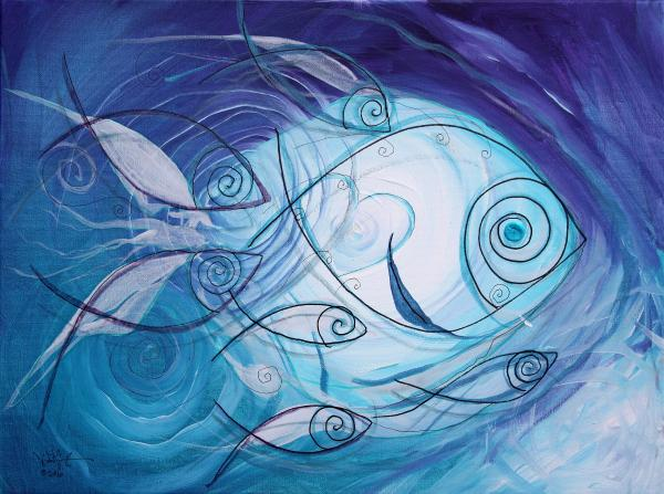 Fish Painting - Seven Ichthus And A Heart by J Vincent Scarpace