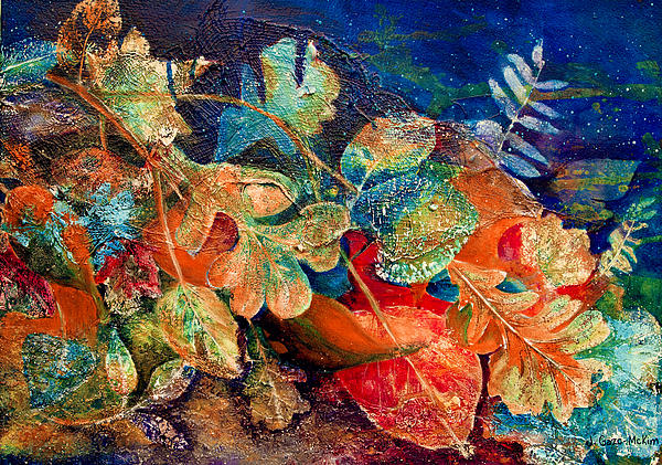 Leaves Painting - Shades Of Leafin An Imprint by Jo-Anne Gazo-McKim
