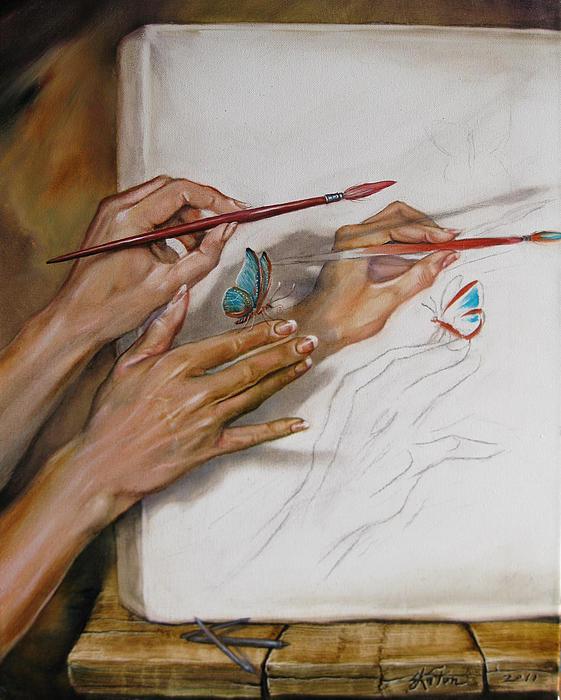Stilllife Painting - She Paints by Martin Katon