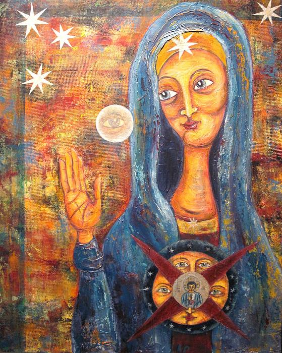 Holy Mother Painting - She Sees And Blesses All by Suzan  Sommers