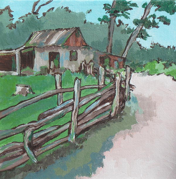 Shed Painting - Sheep Sheering Shed by Sandy Tracey