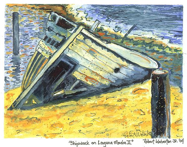 Contemporary Painting - Shipwreck On Laguna Madre II by Robert Wolverton Jr