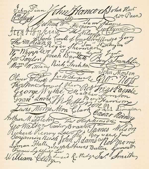 Signed Painting - Signatures Attached To The American Declaration Of Independence Of 1776 by Founding Fathers