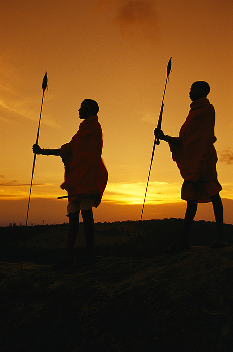 Africa Photograph - Silhouetted Laikipia Masai Guides by Richard Nowitz