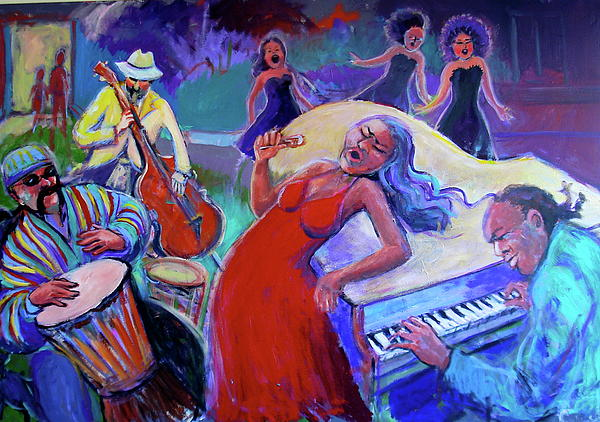 This Piece Tells The Story Of The Power Of The Music Born Of Oppression And Survival Painting - Singin  The Blues by Anne Marie Bourgeois