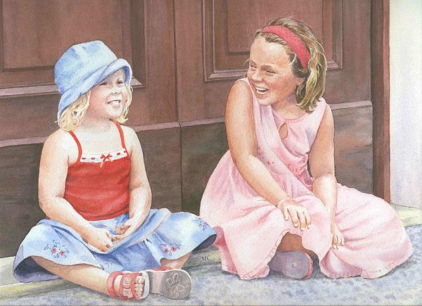 Children Painting - Sisters On Holiday by Maureen Carter