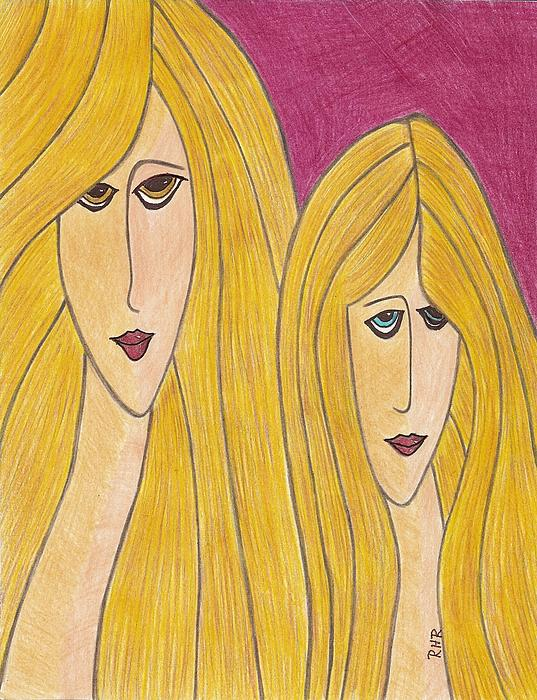 Pop Art Drawing - Sisters by Ray Ratzlaff