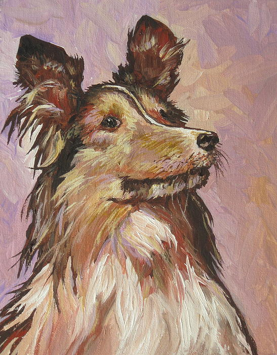 Dog Painting - Sitting Pretty by Sandy Tracey