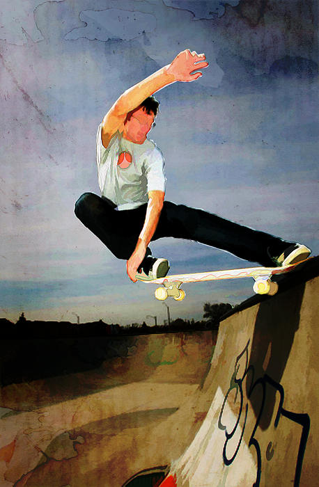 Skateboarding The Wall  Painting by Elaine Plesser