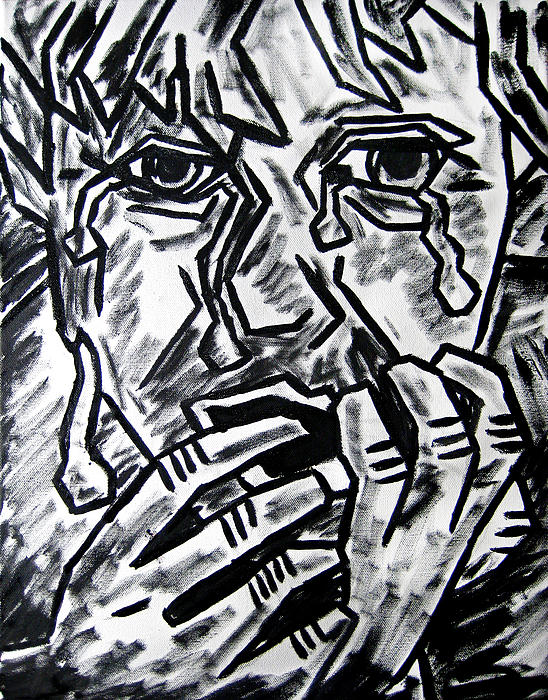Weeping Child Painting - Sketch - Weeping Child by Kamil Swiatek