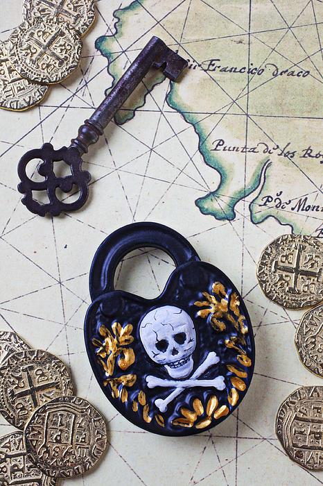 Lock Photograph - Skull And Cross Bones Lock by Garry Gay