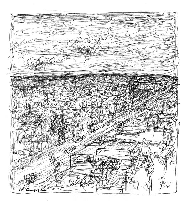 Landscape Drawing - Skyline Sketch by Elizabeth Carrozza