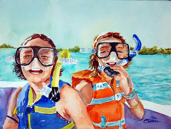 Girls Painting - Snorkel Girls by Ron Stephens