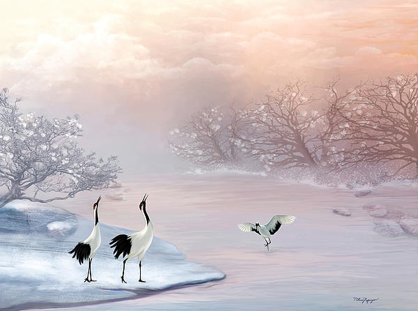 Crane Digital Art - Snow Cranes by Thanh Thuy Nguyen